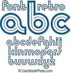 geval, zijn, onderste, set, oud, alfabet, brieven, vector, gebruikt, retro, engelse , logo, creation., groenteblik