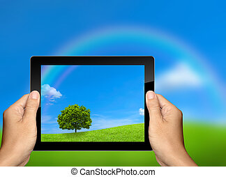 gevangen nemen, de, natuur landschap, met, tablet, computer