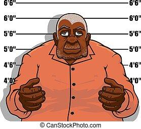 gevangene, gangster, man, of, spotprent