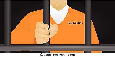 gevangene, sinaasappel, vector, uniform