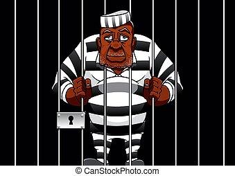 gevangene, staaf, achter, spotprent, gevangenis