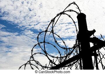 gevangenis, omheining, tegen, donkere hemel