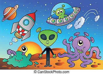 gevarieerd, alien, en, ruimte, stripfiguren