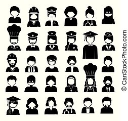 gevarieerd, beroepen, vector, beroepen, illustratie