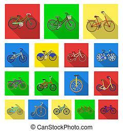 gevarieerd, bicycles, plat, iconen, in, set, verzameling, voor, design., de, type, van, vervoeren, bitmap, symbool, liggen, web, illustration.