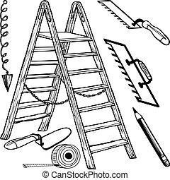 gevarieerd, bouwsector, gereedschap