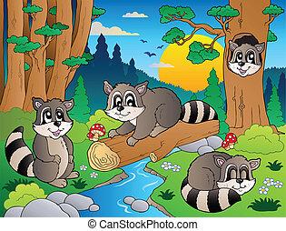 gevarieerd, dieren, scène, 7, bos