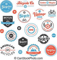 gevarieerd, emblems, etiketten, fiets