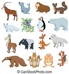 gevarieerd, fauna, set, dieren