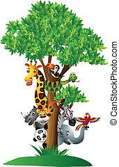 gevarieerd, gekke , spotprent, safari, dier