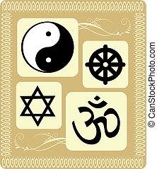 gevarieerd, godsdienstige symbolen, in, floral, achtergrond