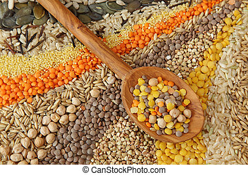 gevarieerd, graankorrel, zaden