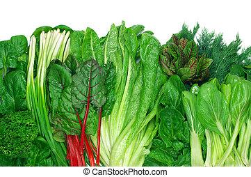 gevarieerd, groentes, leafy