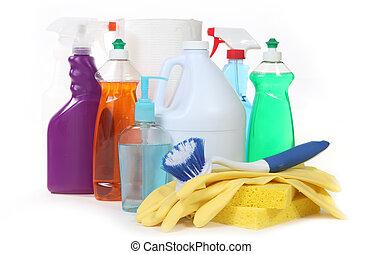 gevarieerd, huisgezin, producten, poetsen