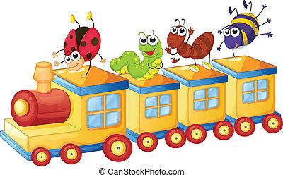 gevarieerd, insecten, op, trein