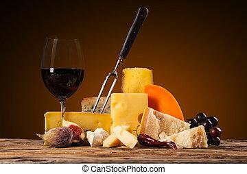 gevarieerd, lief, van, kaas, met, wijntje