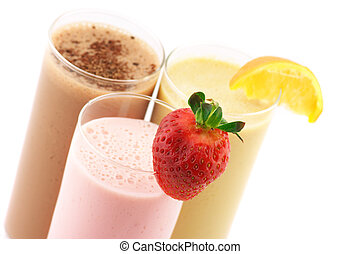gevarieerd, proteïne, cocktails