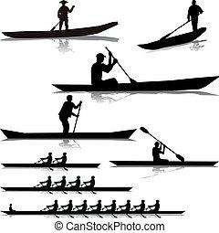 gevarieerd, rivier, rowers