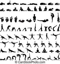gevarieerd, silhouettes, houdingen, yoga, v