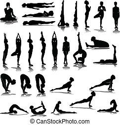 gevarieerd, silhouettes, yoga