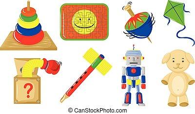 gevarieerd, soorten, van, speelgoed