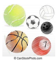 gevarieerd, sporten, bal