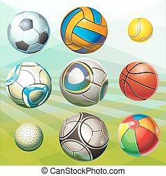 gevarieerd, sporten, balls.