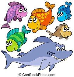 gevarieerd, spotprent, vissen, verzameling