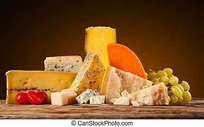 gevarieerd, type, van, kaas