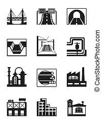gevarieerd, types, van, bouwsector