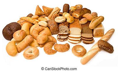 gevarieerd, types, van, brood