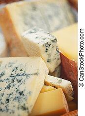 gevarieerd, types, van, kaas, samenstelling