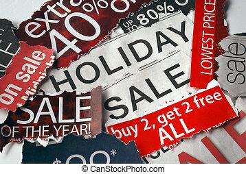 gevarieerd, vakantie, op, verkoop, tekens & borden, van, de,...