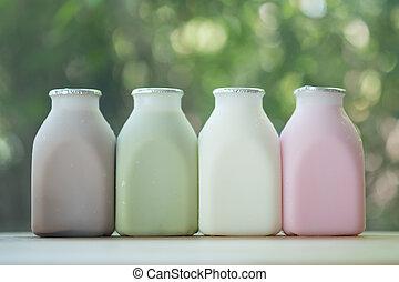 gevarieerd, van, verse melk, aroma, in, flessen
