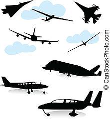gevarieerd, vliegtuigen