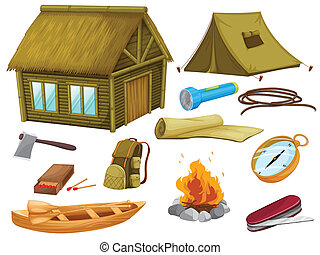 gevarieerd, voorwerpen, van, kamperen
