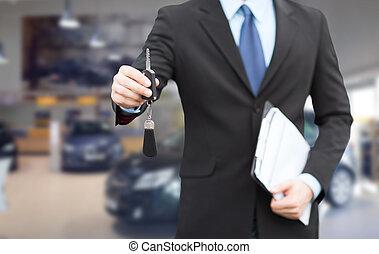 geven, auto, op, klee, afsluiten, zakenman, verkoper, of