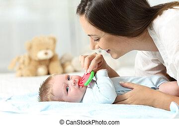 geven, baby, bitter, haar, moeder