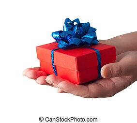 geven, cadeau, handen