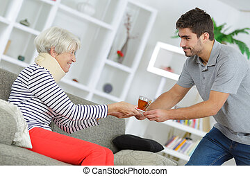 geven, dame, koffie, oud
