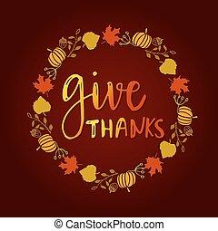 geven, dank, seizoen, hand, getrokken, vector