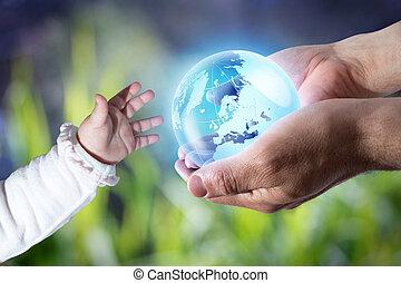 geven, de wereld, de, nieuw, generatie