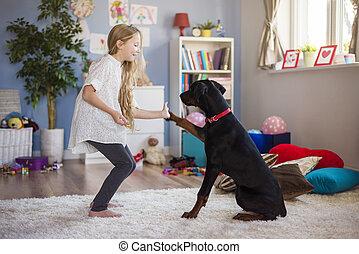 geven, dog, scholing, hoog, hoe, vijf, meisje