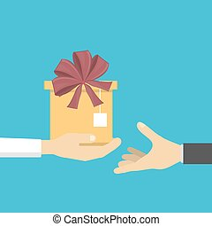 geven, gift., handen