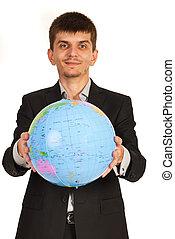 geven, globe, zakenmens