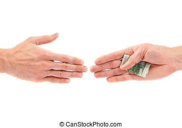 geven, hand, anderen, steekpenning, corruptie, concept: