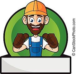 geven, handyman, badge, beduimelt omhoog