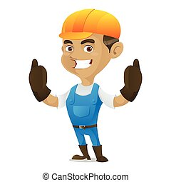 geven, handyman, beduimelt omhoog