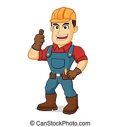 geven, handyman, op, duim