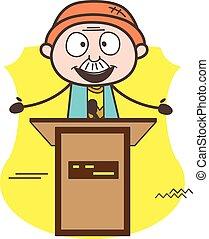 geven, illustratie, vector, opa, toespraak, spotprent, cursus